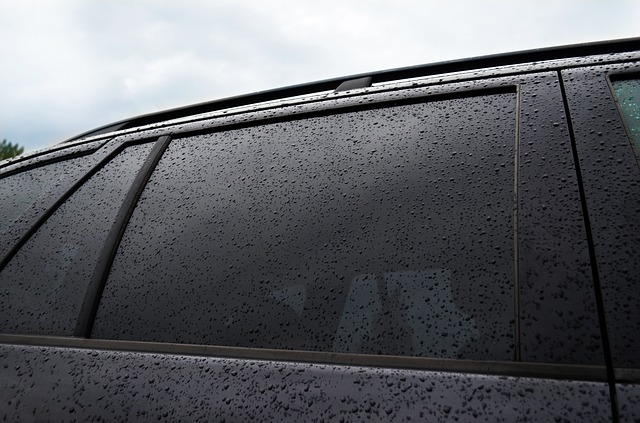 tinted window of cars with rain droplets